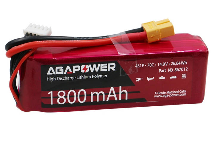 Аккумулятор AGA POWER Li-Pol 1800mAh 14.8V 4S 70C Softcase 31x35x105мм T-Plug, фото 2