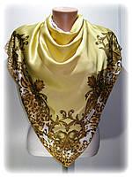 Шёлковый платок Классик, горчичный (100%rayon)