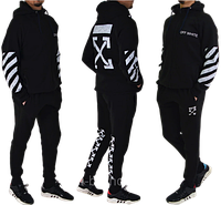 Трикотажный костюм Off-White (Premium-class) черный с белым