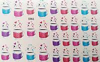 Водные наклейки (слайдер дизайн) для ногтейS961