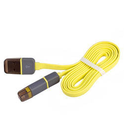 Кабель PULSO USB - Micro USB/Apple 1m yellow (плоский) (CP-002Y)