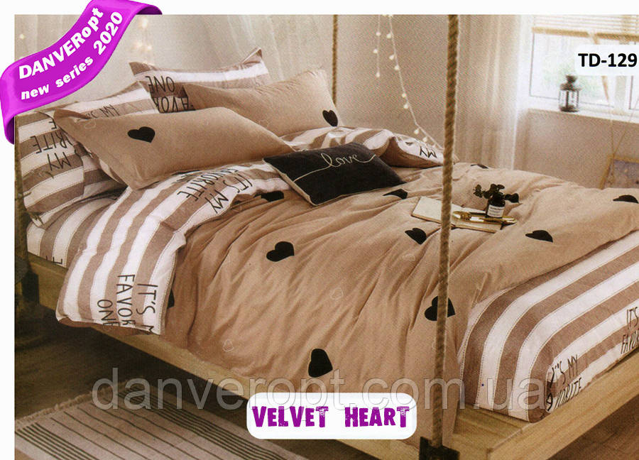Постельное белье двуспальное  VELVET HEART  хлопок ,размер 175*215, купить оптом со склада 7км Одесса