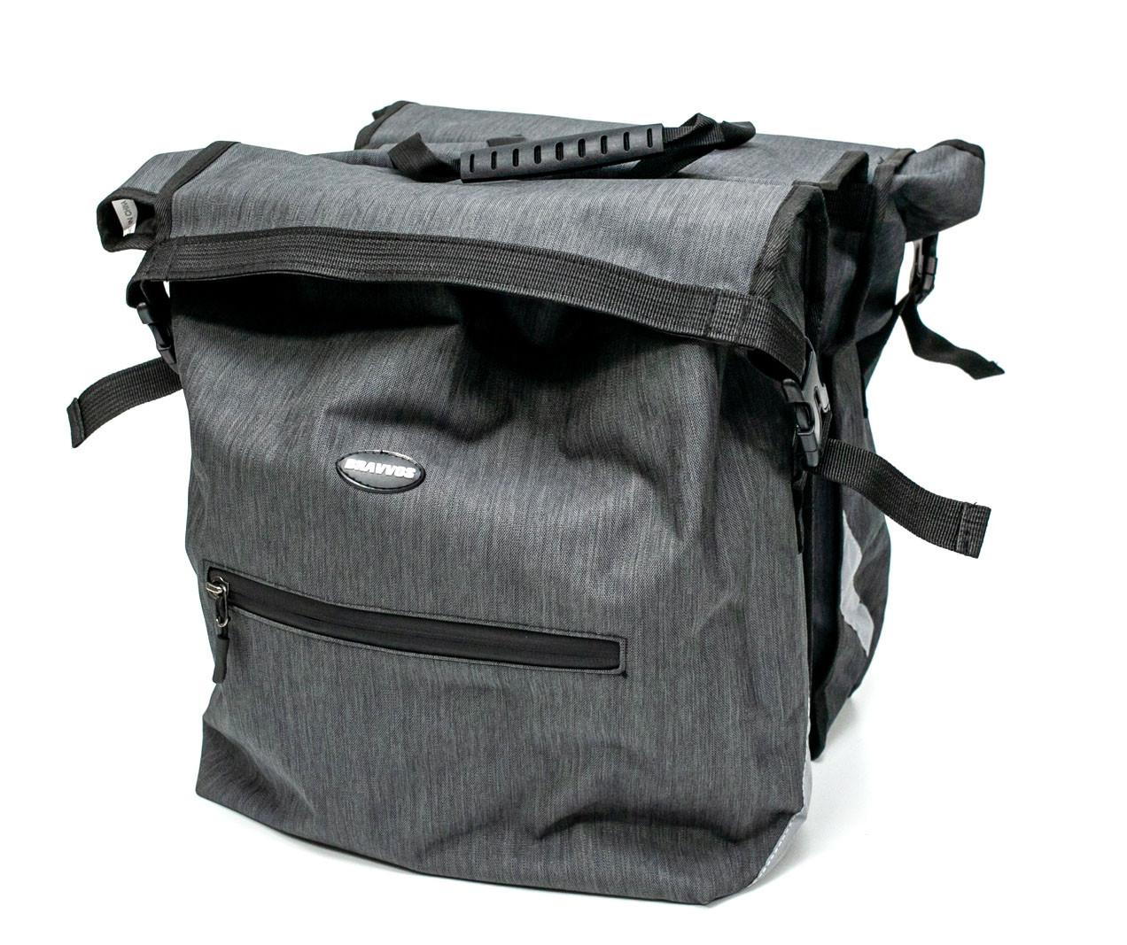 Велосумка-штаны на багажник BRAVVOS F-088, серая (25L)