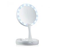 Настольное зеркало для макияжа Mirror c LED подсветкой сложное круглое Белое (4370)