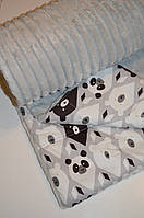 Детский плед в кроватку и коляску панды на сером, из плюша Minky