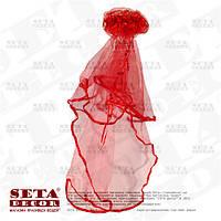 Красная фата на девичник на гребешке 55 см. Продажа и прокат.