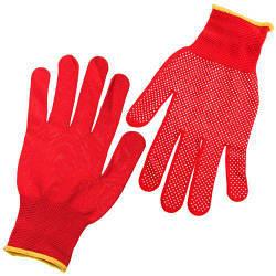 Перчатки трикотажные с ПВХ, красные, 00 г (без этикетки) ((1200/10))