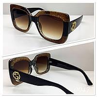 Женские большие квадратные солнцезащитные очки Guссi коричневые (GG0083)
