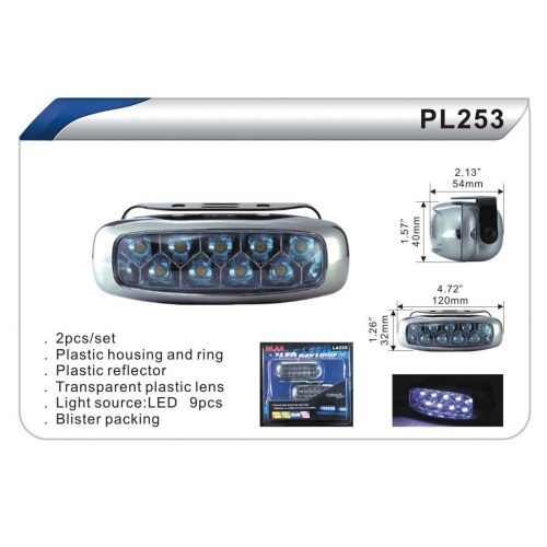Фары доп дневного света DLAA PL-253-W Led-9 пластик 120х32мм