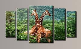 """Модульная картина на холсте из 5-ти частей """"Жирафы"""""""