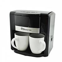 Капельная кофеварка Domotec MS-0708 на 2 чашки Черная