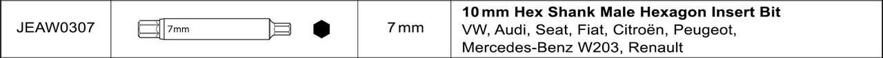 Насадка для разборки стоек L100мм HEX 7мм  TOPTUL JEAW0307