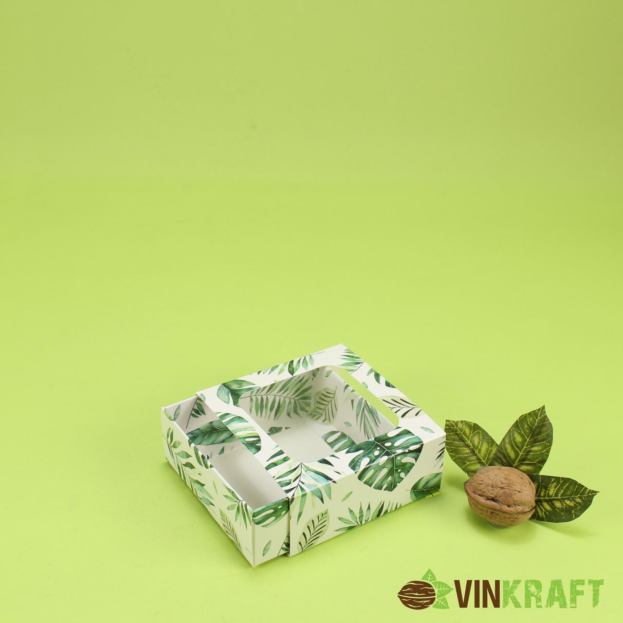 Подарункова коробка 90*90*35 з вікном, зелений принт