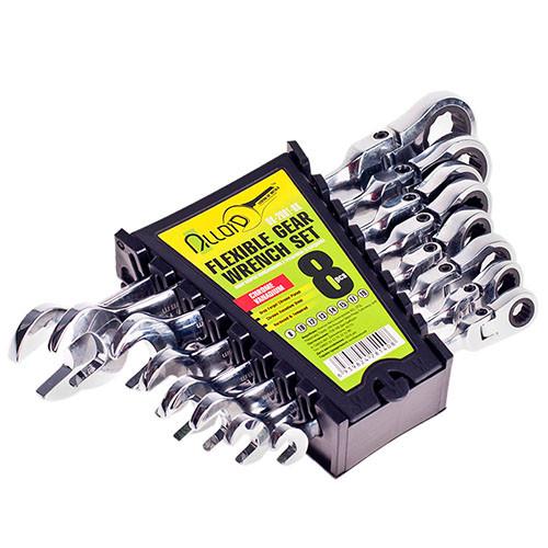 Alloid НК-2081-8К. Набор ключей комбинированных с трещоткой и карданом