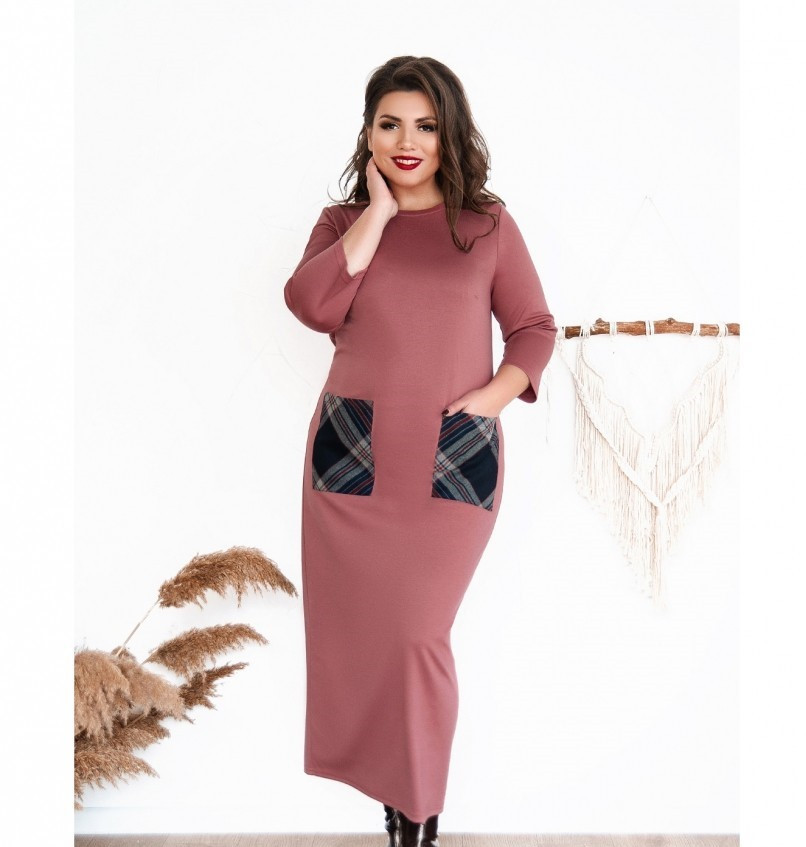 Платье женское большого размера прямого кроя цвет-карамель