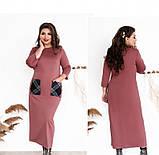 Платье женское большого размера прямого кроя цвет-карамель, фото 3