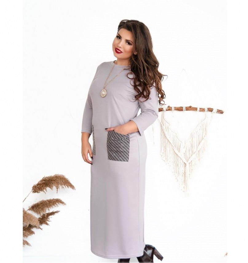 Платье женское большого размера прямого кроя цвет-лиловый