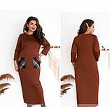 Платье большого размера прямого кроя цвет-терракотовый, фото 2