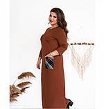 Платье большого размера прямого кроя цвет-терракотовый, фото 3