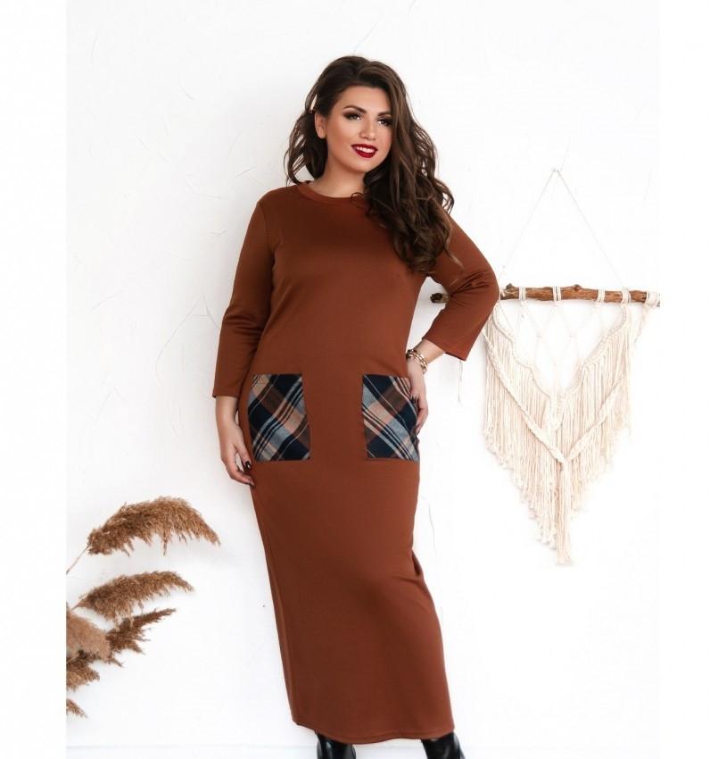 Платье большого размера прямого кроя цвет-терракотовый