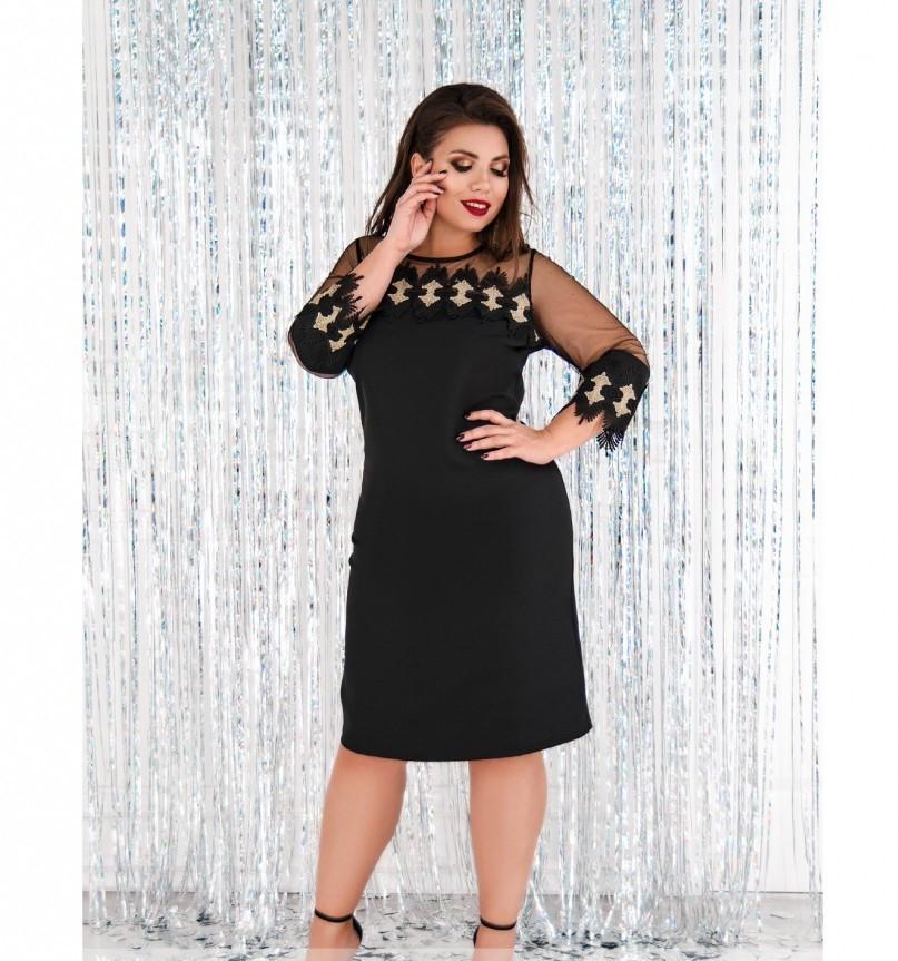 Платье женское из легкой ткани черное