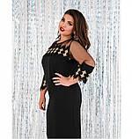 Платье женское из легкой ткани черное, фото 3