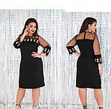 Платье женское из легкой ткани черное, фото 4