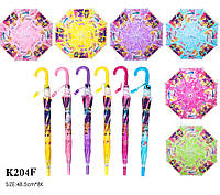 "Зонт ""Barbie"" K204F  6 видов, со свистком, в пакете 49 см"