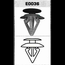 TJG.Клипсы для внутренней обивки салона 036(пластик) 100шт./уп. (E0036) (E0036)