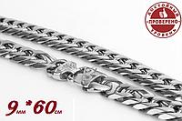 Цепочка мужская цепь. Сталь 316L. 100% аналог серебра. 9мм*60см