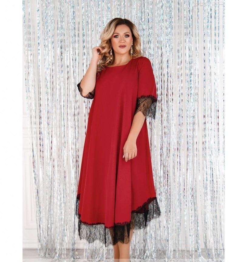 Платье женское А-силуэта, без карманов красное