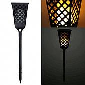 Садовый светильник фонарь в виде мерцающей свечи на солнечной батарее Tiki Lights черный