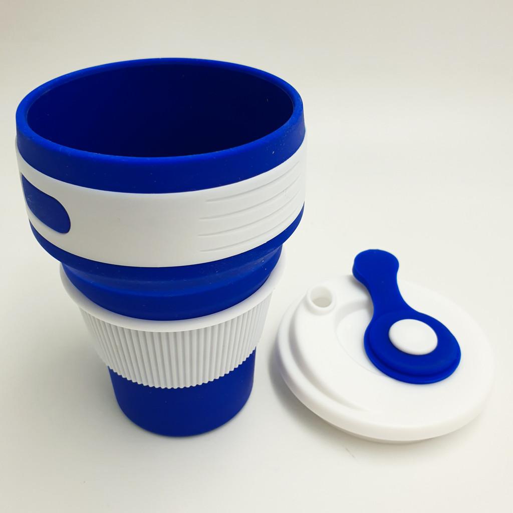 Чашка силиконовая складной стакан с герметичной крышкой и поилкой Collapsible 350 мл синий
