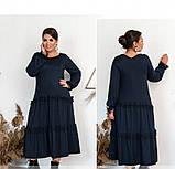 Повседневное женское платье темно-синее, фото 2