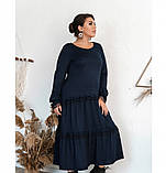 Повседневное женское платье темно-синее, фото 3