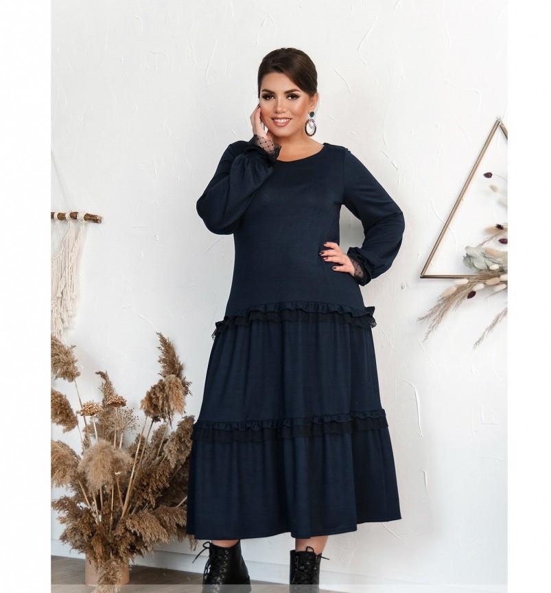 Повседневное женское платье темно-синее