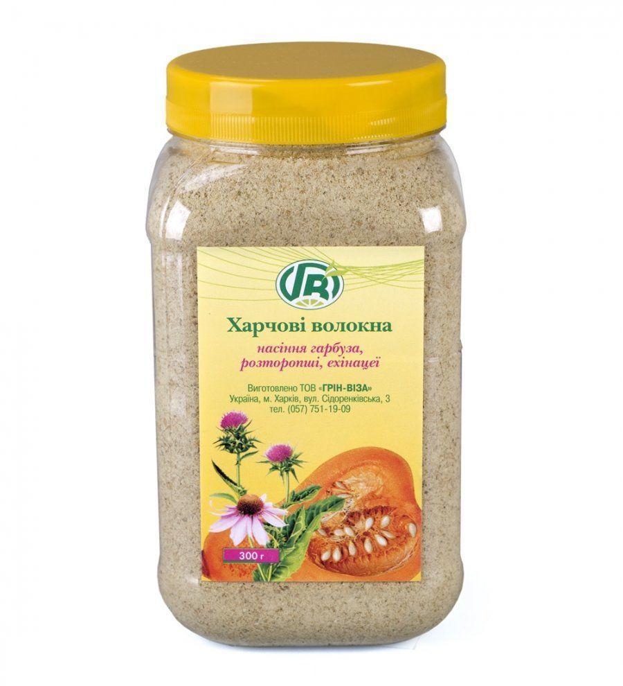 Пищевые волокна семян тыквы, расторопши и эхинацеи, Грин Виза, 300 г