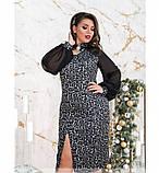 Вечернее женское платье батал серое, фото 3
