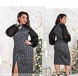 Вечернее женское платье батал серое, фото 4