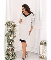Платье женское большого размера светло-серое