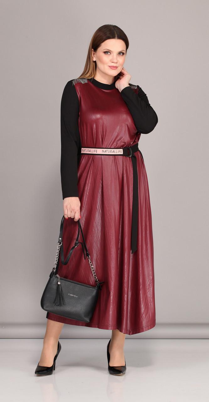 Платье Lady Secret-3629 белорусский трикотаж, бордо с черным, 50