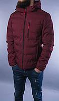 Мужская бордовая куртка тёплая спортивная с капюшоном