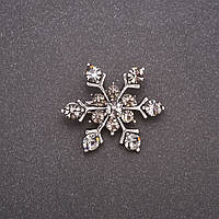 Брошь Снежинка серые стразы серый металл 26х30мм