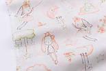"""Ткань хлопковая """"Кролики с шариком-сердечком"""" пудровые на белом №2589, фото 4"""