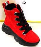 Червоні замшеві черевики жіночі демісезонні від виробника модель КА101-3, фото 2