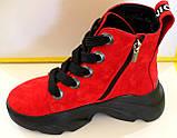Червоні замшеві черевики жіночі демісезонні від виробника модель КА101-3, фото 3