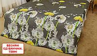 Двоспальний підодіяльник з бязі - Весняні одуванчики, темні