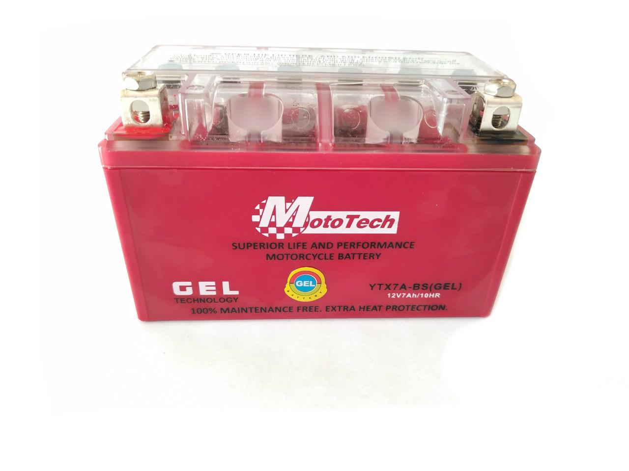 Аккумулятор 7A 12V (YTX7A-BS) MOTOTECH гелевий 148x85x93