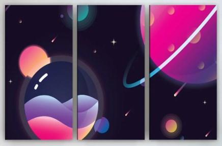 Модульная картина на холсте 90х60 Планеты
