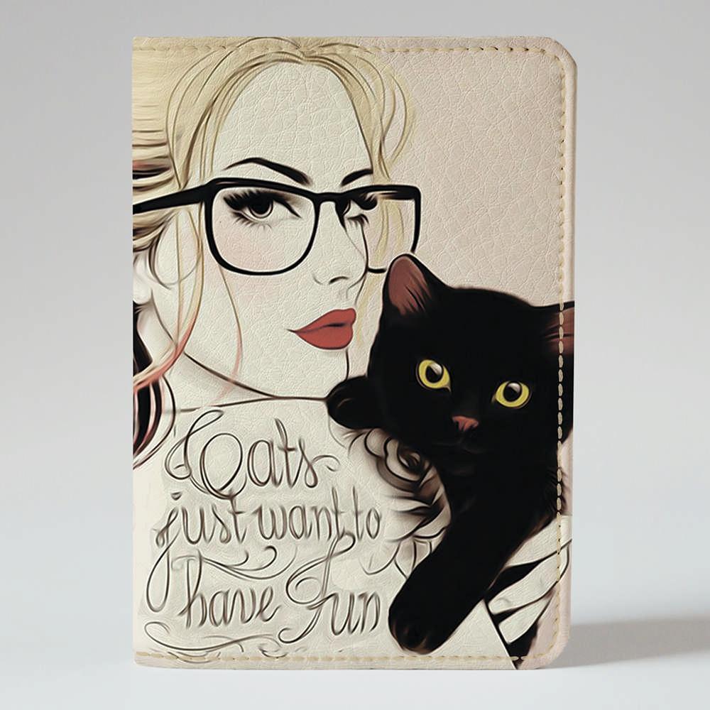 """Обкладинка на паспорт """"Дівчина з котиком"""", Обложка для паспорта экокожа """"Девушка с котиком"""" 25"""